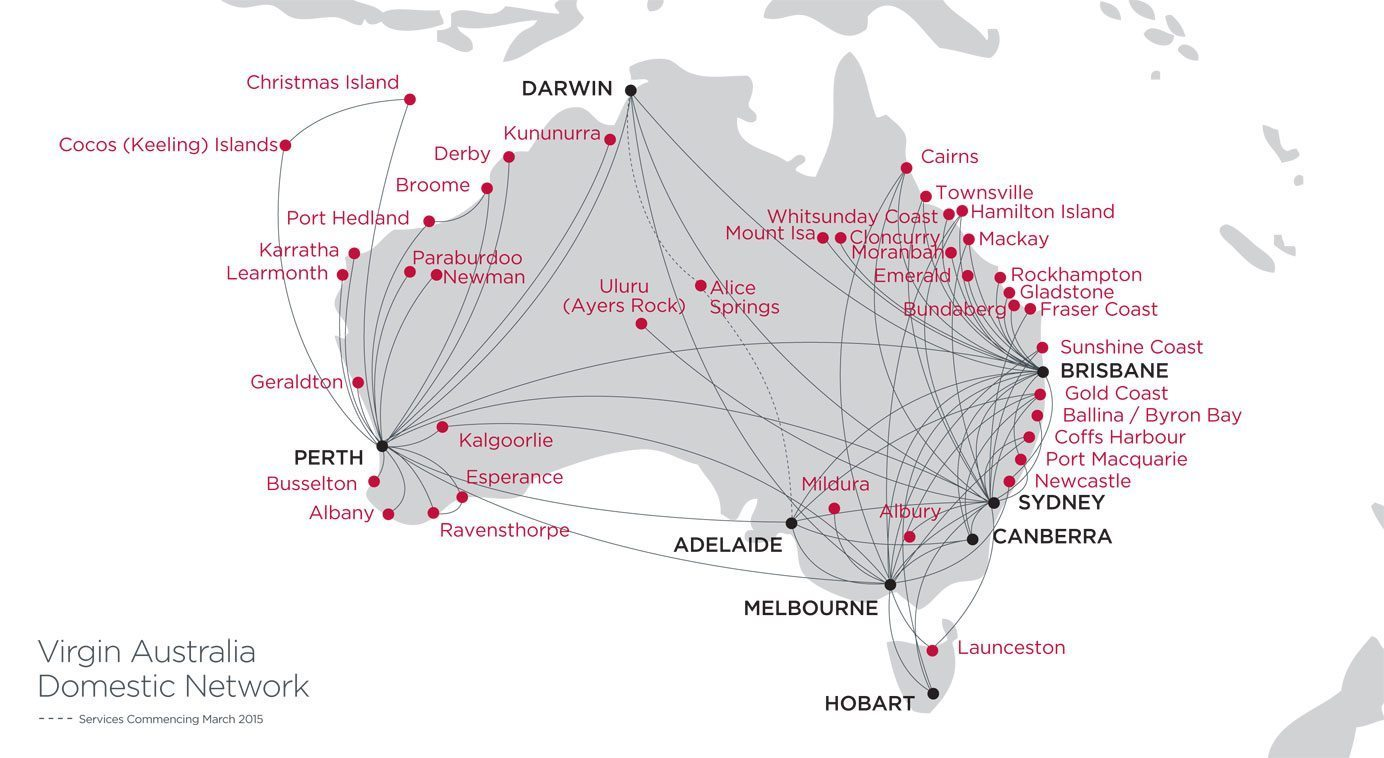 Flight routes to Darwin